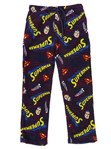 DC Comics Classic Superman Men's Plush Lounge Sleep Pants, Navy (Medium)
