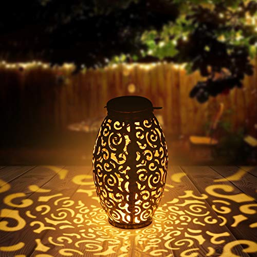 Viugreum Lanterna Solare Giardino, Lanterna da Esterno IP44 Impermeabile Lanterne da Giardino Lanterna Lampada Solare LED Luci Decorative per Patio, Feste, Halloween, Natale, Cortile Passerella