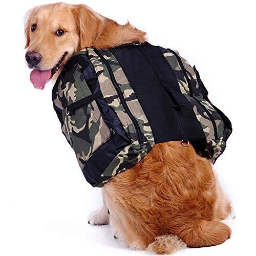 HRSS Dog Backpack,Pet Carrier Hiking Gear - Travel Camping Harness Saddle Bag/Hound Rucksack/Dog Vest-Portable Outdoor Carry Handbag for Medium Breeds Dog,Camouflage,M