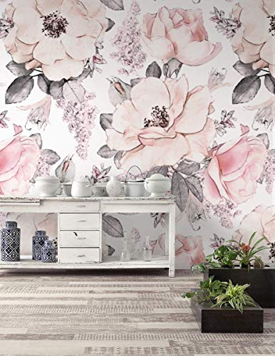 Murwall Nursery Floral Wallpaper Kids Floral Wall Mural Flower Pattern Wall Paper Pink Blossom Wall Print for Girls Bedroom Childroom Kindergarten Livingroom