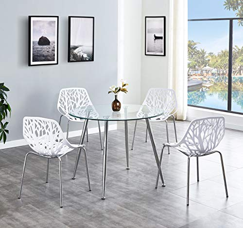 SALBAY Chrome Metal Round Thicken Glass Dining Table And 4 Black/White Fashion Dining Chairs (1 Table+4 Chairs(White))
