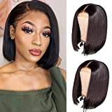 Iwig Lace Front Wigs Human Hair Short Straight Bob Wigs for Black Women Unprocessed Brazilian Virgin Hair Lace Front Wigs (12inch) 150% Density Pre Plucked Hairline with Baby Hair