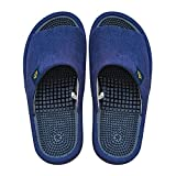 BIKINIV Reflexology & Acupressure Massage Slippers Sandals for Men & Women Home Shoes Shock Absorbing, Cushion Comfort & Arch Support for Better Health (8.5-9 Women/7.5-8 Men, Navy Blue)