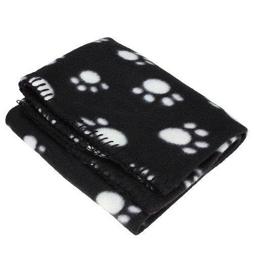 Bluelans® Couverture en polaire douce et chaude pour animal domestique Motif empreintes de pattes Noir 60 x 70 cm