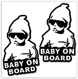 SkinoEu® 2 Stück Vinyl Aufkleber Autoaufkleber Stickers Baby On Board Kind Sicherheit Auto Motorrad Fahrrad Fenster Tür B 167