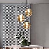 CBJKTX lámpara colgante mesa de comedor lámpara colgante lámpara ajustable en altura lámpara colgante 3 llamas de vidrio en color ámbar cocina lámpara de sala lámpara de dormitorio lámpara de salón