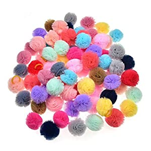 WONSEN 40PCS (20 Paris) Dog Hair Bows Colored Ball Design for Puppy Girl Hair Bows with Rubber Bands Ball Pet Dogs Hair Bows Grooming Accessories