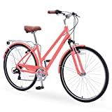 sixthreezero Pave n' Trail Women's 7-Speed Hybrid Bike, 700c Wheels/ 17' Frame, Coral with Brown Seat and Grips