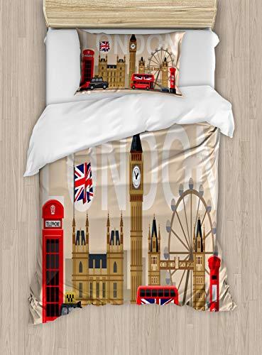 ABAKUHAUS Londen Dekbedovertrekset, Groot-Brittannië Landmarks, Decoratieve 2-delige Bedset met 1 siersloop, 130 cm x 200 cm, Veelkleurig