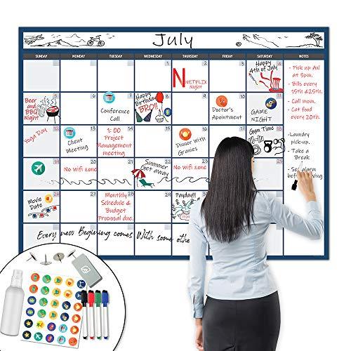 X Large Dry Erase Wall Calendar - 36x48 Premium Giant Oversized Undated Erasable Deadline Task Calendar for 2021 - Jumbo Monthly Task Organizer Planner for Home & Office