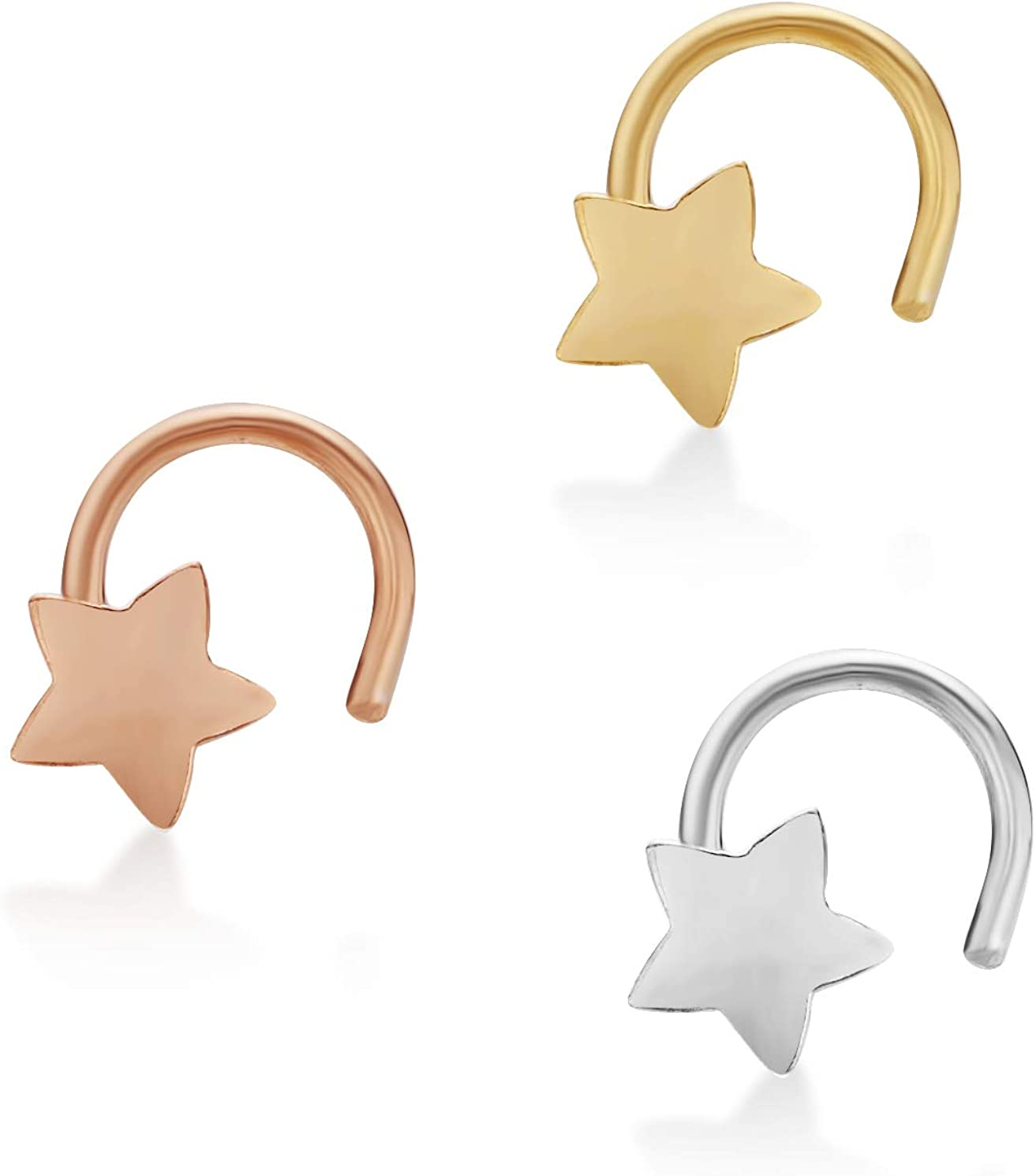 22 New product type discount Gauge Curved Screw Star Nose Ring Set Lav Gold mm by in 2 10k