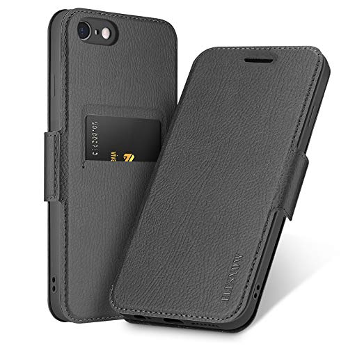 ELESNOW Funda para iPhone 6 Plus / 6S Plus - 5.5', Carcasa de Cuero con Cierre Magnético y Tarjetero para Apple iPhone 6 Plus / 6S Plus (Negro)