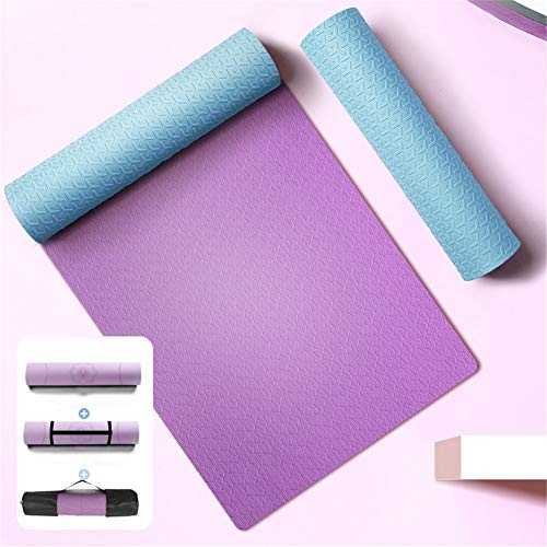 XYDM Casa Fitness Tappetino da Yoga in TPE Addensare Antiscivolo Tappetino Palestra Unisex Ginnastica Tappetino per Esercizio Durevole Resistenza allo Strappo Facile da riporreD-183x68x0.8cm