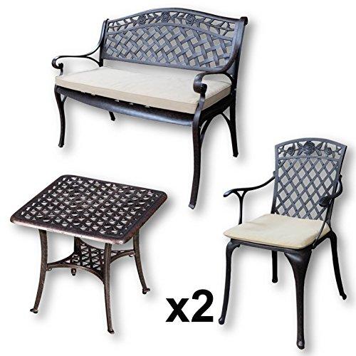Lazy Susan - SANDRA Quadratischer Kaffeetisch mit 1 ROSE Gartenbank und 2 ROSE Stühlen - Gartenmöbel Set aus Metall, Antik Bronze (Beige Kissen)