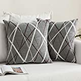 MIULEE Pack of 2 Decorative Throw Pillow Covers Woven Textured Chenille Cozy Modern Concise Soft Grey Square Cushion Shams for Bedroom Sofa Car 18 x 18 Inch