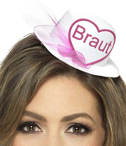 Party-Teufel® Mini Hut Aufschrift Braut oder Team Braut mit Brautschleier und Haarclips Junggesellenabschied (Braut)