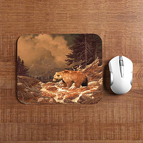 Moslion Grizzly Bear Mouse Pad Rocky Mountains Wildlife Animal Canyon Forest Nature Outdoors Gaming Mouse Mat Non-Slip Rubber Base Thick Mousepad for Laptop Computer PC 9.5x7.9 Inch Photo #3