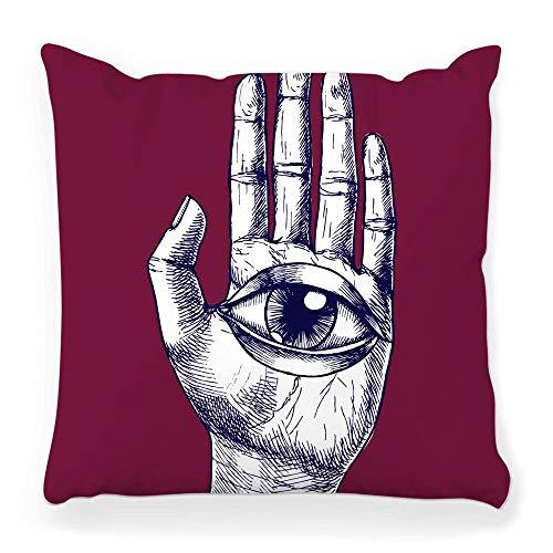 REAlCOOL Funda de almohada cuadrada de 45,7 x 45,7 cm, mano humana, ojo mágico, dibujo vintage, anatomía anatómica, brazo, emblema para grabar Fátima