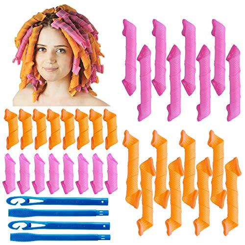 32Pcs Bigodini a spirale magica Set di strumenti per lo styling dei capelli Rulli per capelli faidate flessibili senza calore con ganci per lo styling per donne e ragazze (rosa e arancione, 15cm/25cm)
