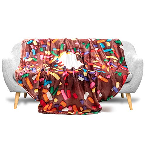 Soft Round Chocolate Donut Throw Blanket 60 inches in Diameter for Kids