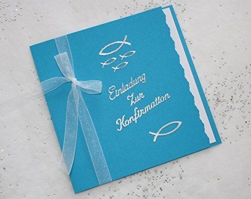 5 Einladungskarten zur Konfirmation Einladung incl. Umschlag Schriftzug aquablau/silber*Handarbeit*