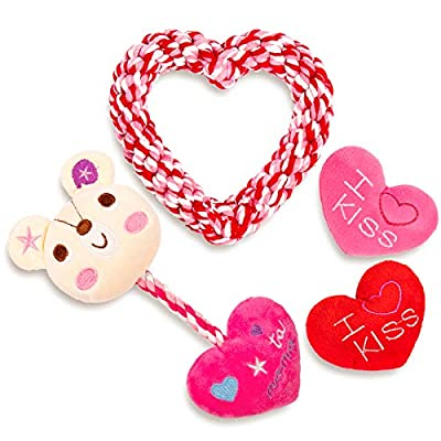 Whaline 4 Pack Valentine's Day Dog Toy Kit Red Pink Fleecy Heart Valentine Heart Rope Plush Bear Heart Rope Puppy Chew Toy for Small Medium Large Dog Pets Playtime Teeth Cleaning