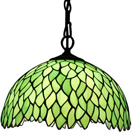 Tiffany Hanging Light W12H32 Inch Green Stained Glass Pendant lamp 1E26 Wisteria Style S523 product image