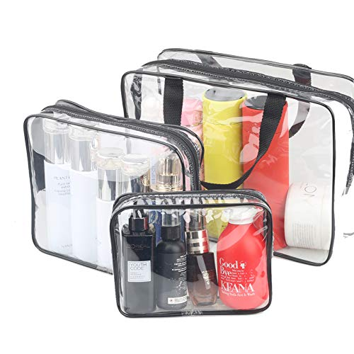 3 Pieces Large Clear Travel Bags for Toiletries, Waterproof Clear Plastic Cosmetic Makeup Bags, Transparent Packing Organizer Storage Bags (Black)