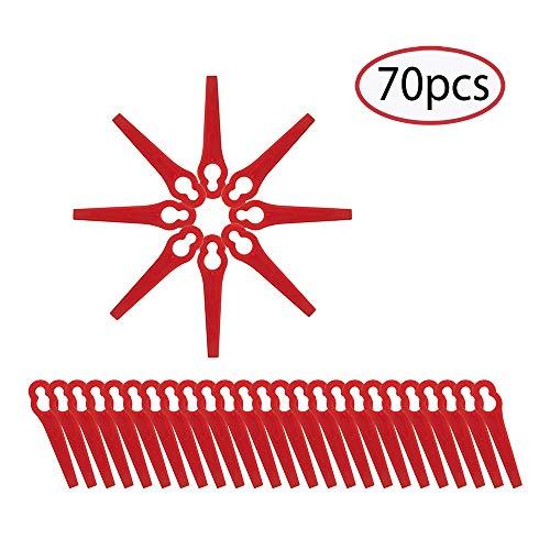 ECHOAN 70Pcs Cuchillas para cortacésped, Rojo Cuchillas de Repuesto, Cuchilla de Recambio para cortabordes para FRT18A / FRT18A1 / FRT20A1 / Art 26–18LI / ART23–18 LI / 1083-B3–0009 / Art 46155.