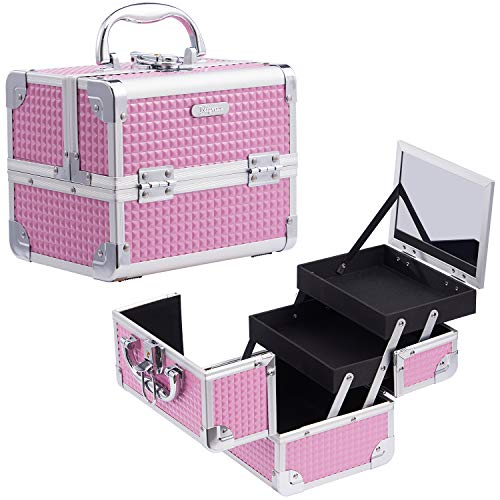 Joligrace Girls Makeup Box with Mirror Vanity Case Jewelry Organiser Nail Box Cosmetic Case Light Weight, 2 Trays Lockable with Keys (Pink)