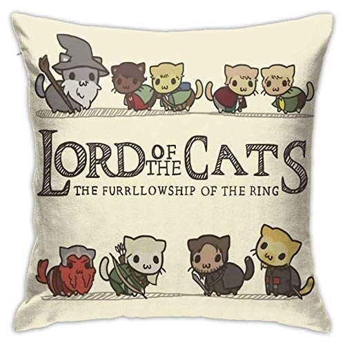 Lord of The Rings Cats Cozy Square Decorative Throw Pillow Covers for Car Couch and Bed, 18 X 18 Inches