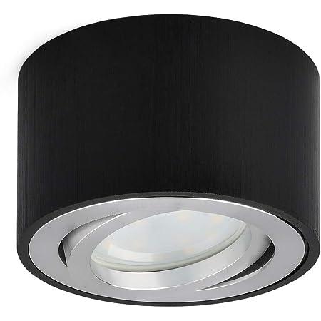 Plafonnier LED en saillie Spots de plafond orientable 230V Comprend un module LED 5W interchangeable 3000K Blanc chaud Ø80x50mm Ronde (Noir brossé)