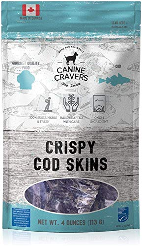 Canine Cravers Single Ingredient Dog Treats – Crispy Cod Skins - Human Grade Air Dried Hypoallergenic Pet Food – Grain, Gluten, and Soy Free – 100% All Natural – 4 oz