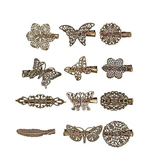 12 STKS Vintage Haar Clip Haarspelden Haar Haarspeldjes Klemmen Vlinderblad Bloem Veer Vorm Pins voor Vrouwen en Meisjes Styling Accessoires, Brons
