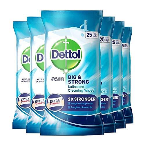 Dettol - Toallitas de baño grandes y fuertes, 25 unidades, 6 unidades