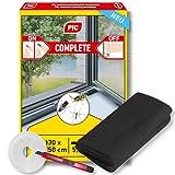 PIC Fliegengitter Fenster - 130 cm x 150 cm - Insektenschutz mit Klettband selbstklebend inklusive Gratis Teppichmesser - Fliegen Netz ohne Bohren