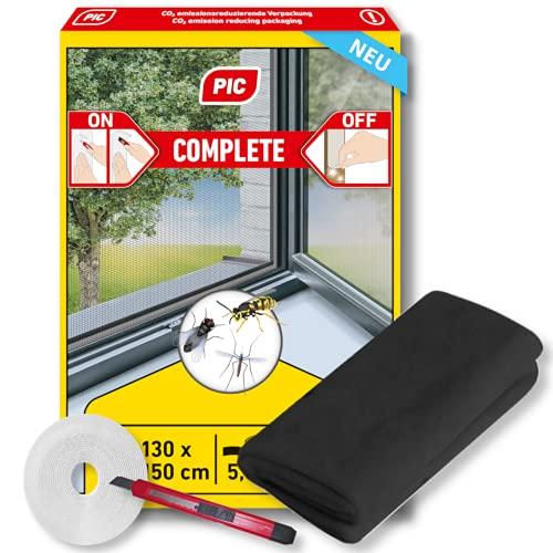 PIC mosquitera para ventana - 130 cm x 150 cm - mosquitera con velcro autoadhesivo - mosquitera sin perforar