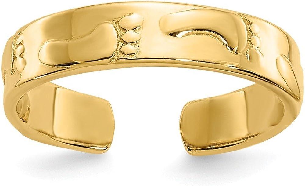 14k Footprints Toe Ring, 14 kt Yellow Gold