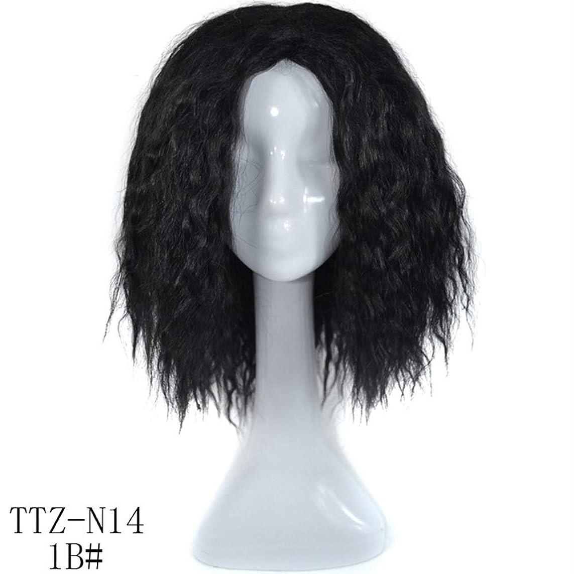 弾力性のあるパンチ土Yrattary ブラジルディープカーリーウェーブ人間の髪の毛の前頭かつら女性ナチュラルカラー20インチ複合毛レースのかつらロールプレイングかつらロングとショートの女性自然 (色 : 黒, サイズ : 20 inch)