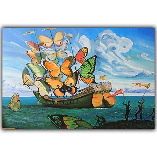 Puzzle de 1000 Piezas para Adultos 50x75cm Salvador Dali Pintura Abstracta Barco de Mariposas Puzzle Rompecabezas para Niños Creativo Puzzle Regalos de Rompecabezas para la Damilia