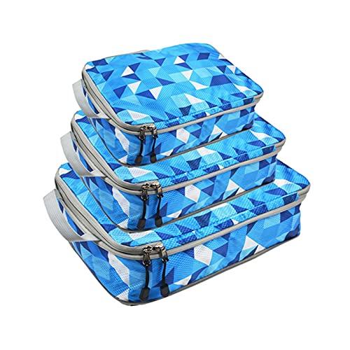 Ishine Cubos de embalaje para maletas,3 organizadores de embalaje de viaje Camo bolsa de compresión cremalleras dobles