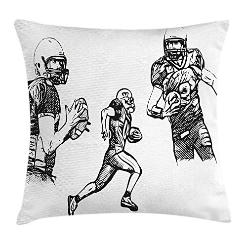 Boy's Room Throw Pillow Cushion Cover, Sketch of American Football Players Running Competition Activity Championship, Decorative Square Accent Pillow Case, 16 X 16 Inches, Dark Green