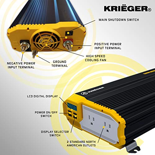 Krieger 1500 Watts Power Inverter 12V to 110V, Modified Sine Wave Car Inverter, Dual 110 Volt AC Outlets, DC to AC Converter with Installation Kit Included - MET Approved to UL and CSA Standards