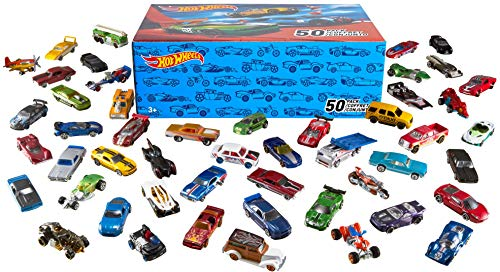 Hot Wheels 50-Car Pack of 1:64 Scale Vehicles Individually Packaged , Gift for Collectors & Kids Ages 3 Years Old & Up