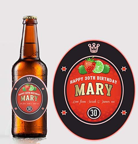 Gepersonaliseerde Aardbei Fruit Cider/Cidre Fles Label Aangepast - Elke bewoording