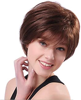 Asdfnfa Women's Short Straight Hair Wig for Fashion Party Costume Red Brown