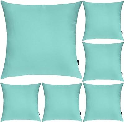 Hodeacc Lot de 6 taies d'oreiller carrées décoratives en tissu polyester - Taille standard 45 x 45 cm - Vert aqua (housse uniquement)