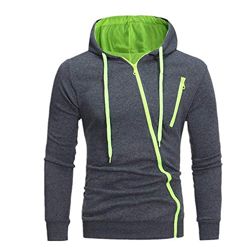 OSTELY Men's Hoodie, Autumn Solid Hooded Long Sleeve Casual Sweatshirt Top Outwear(Z-Green,XX-Large)