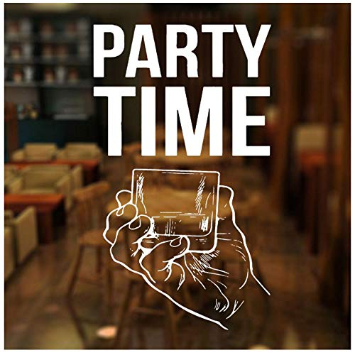 XXSCZ Party Time Quote raamsticker vinyl bar alcohol restaurant whisky tequila wijn drank wandtattoos afneembaar waterdicht 57x98cm