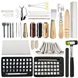 119PCS Leather Tools SIMPZIA Leather Craft Stamping Tools with 36PCS Letter Number Stamps Punch Set, 41PCS Leather Working Saddle Making Tools, Tracing Paper, Adjustable Swivel Knife for Leather Craft